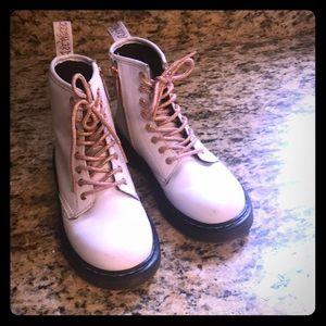 Kids Dr.Martens; white / rose gold boots size 2US